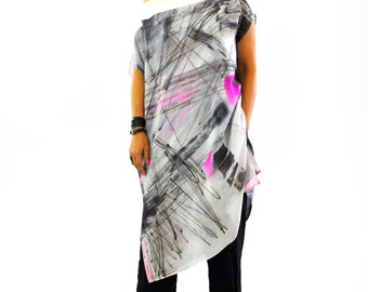 New collection/Maxi Silk Blouse/Loose silk 100% tunic/Hand Painted Silk Top/Painting Silk Caftan/Extravagant Tunic/Painting on hand/T1258