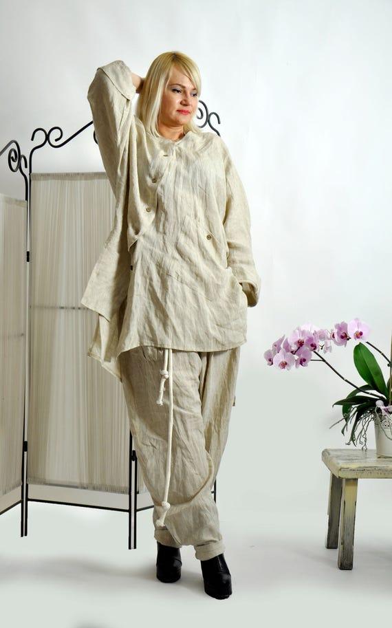 tunic Top linen 100 Loose Beige Oversize Tunic S0304 linen top Asymmetric summer Casual tunic Maxi shirt Beige shirt Handmade Oversize wWzvAqPRq