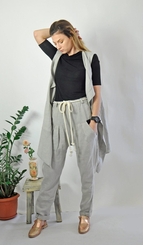 Casual Vest Chic Vest Modern Vest Women Vest Summer Vest Linen Vest Gray Vest Long Vest Ladies Vest Sleeveless Vest Linen Clothing