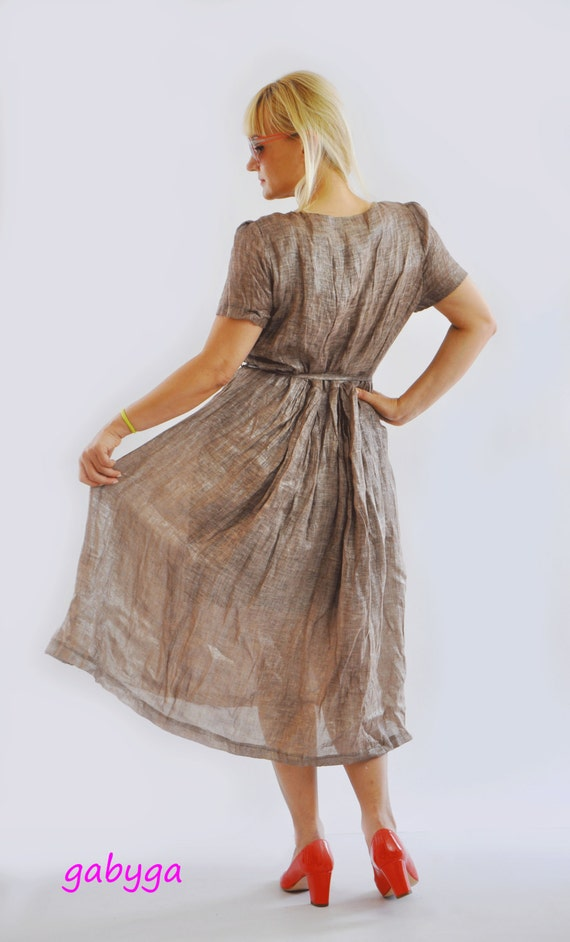 oversize dress Woman Loose Brown Pockets Plus dress Handmade Woman dress Robe Dress size Casual Dress linen Side D1262 dress Oversize Maxi wa7Sxta