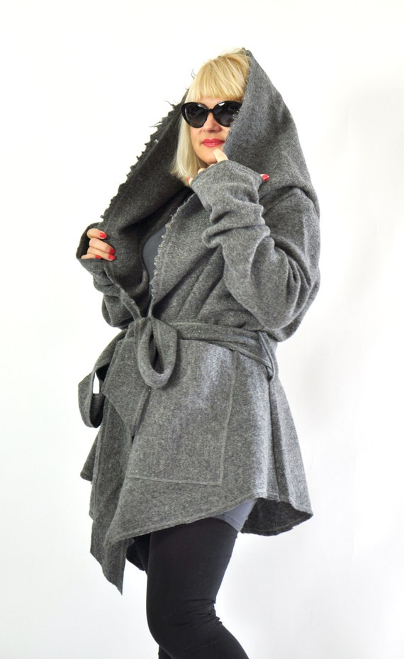 wool Casual Hooded jacket jacket WOOL sleeves loose coat jacket extravagant Extra Two gray C0234 jacket jacket long Woman pockets qB180