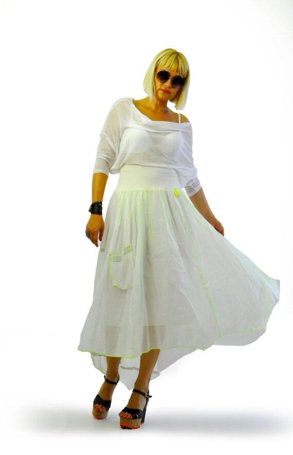 pockets skirt White Woman Extravagant with skirt Casual skirt skirt Asymmetrical Skirt skirt Long New Original S1408 Maxi Parachute Long xO8twZ