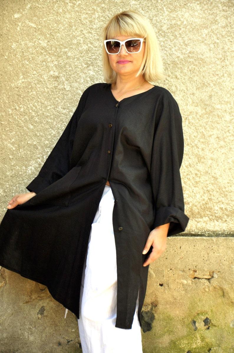 1048d0613f Black 100% linen long shirt Asymmetrical black casual