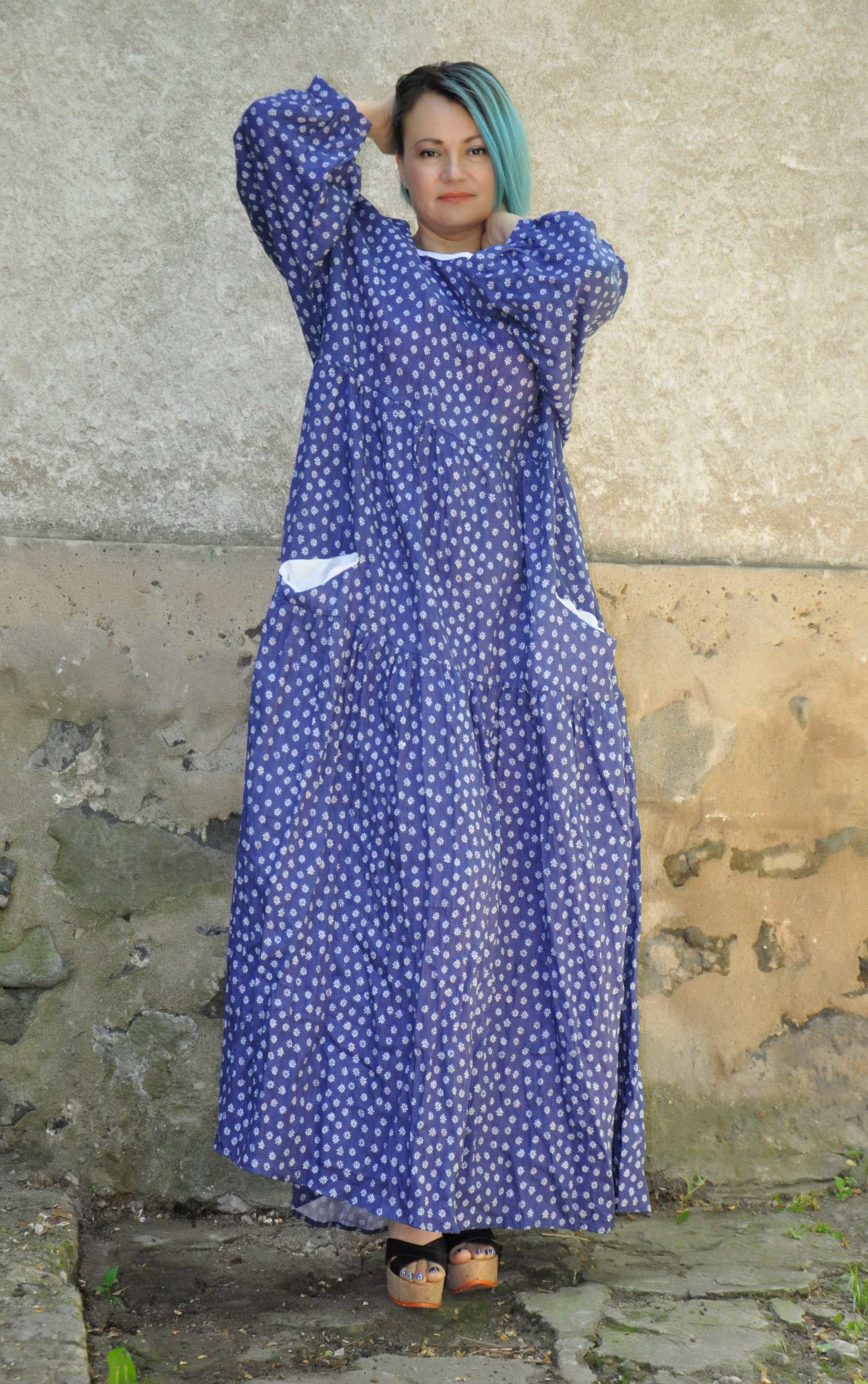 80s Dresses | Casual to Party Dresses Plus Size Linen Dress, Polka Dot Abaya Clothing, Maxi Summer 1980S Loose $119.00 AT vintagedancer.com