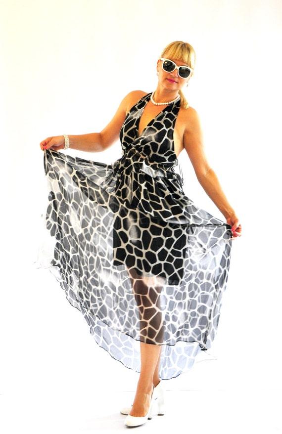 black white Bridesmaid long dress white Print and D1419 Black dress Evening dress chiffon Long and long dress dress silk Summer prom dress B4Zx76qzw