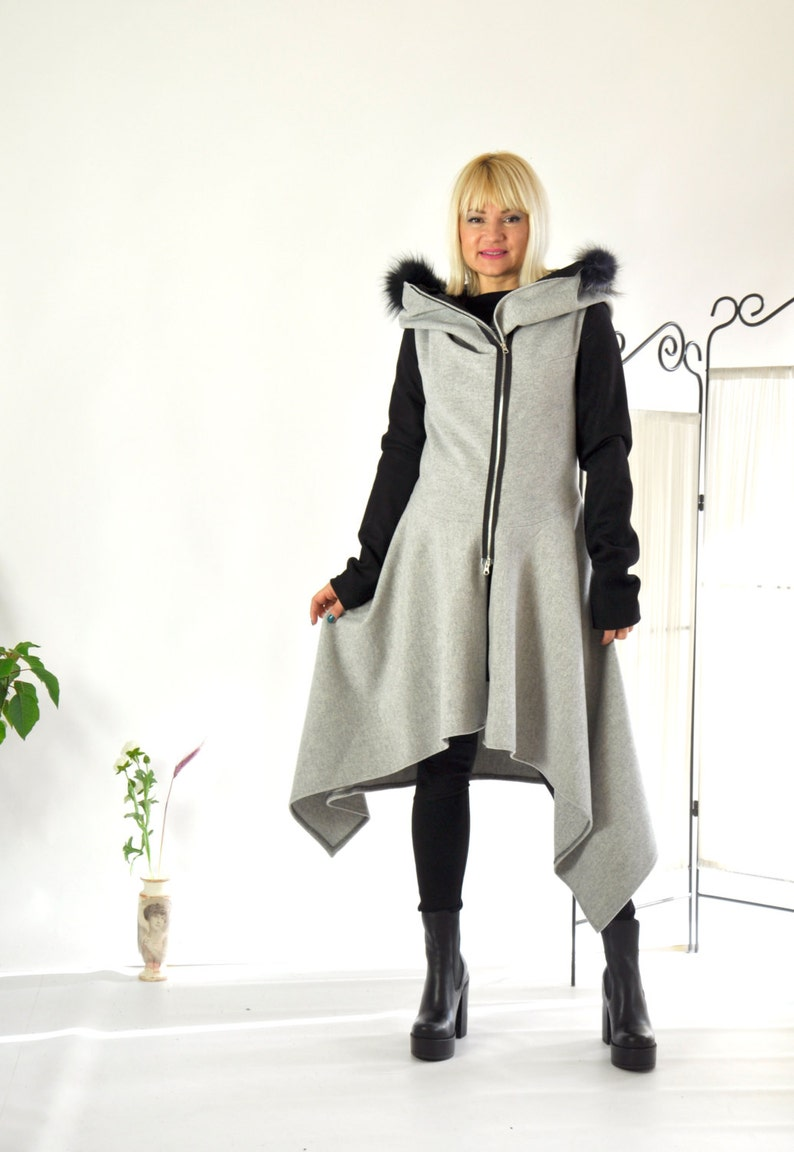 dbda5532d Wool Winter Casual Asymmetric Coat/Grey and black coat/Long | Etsy