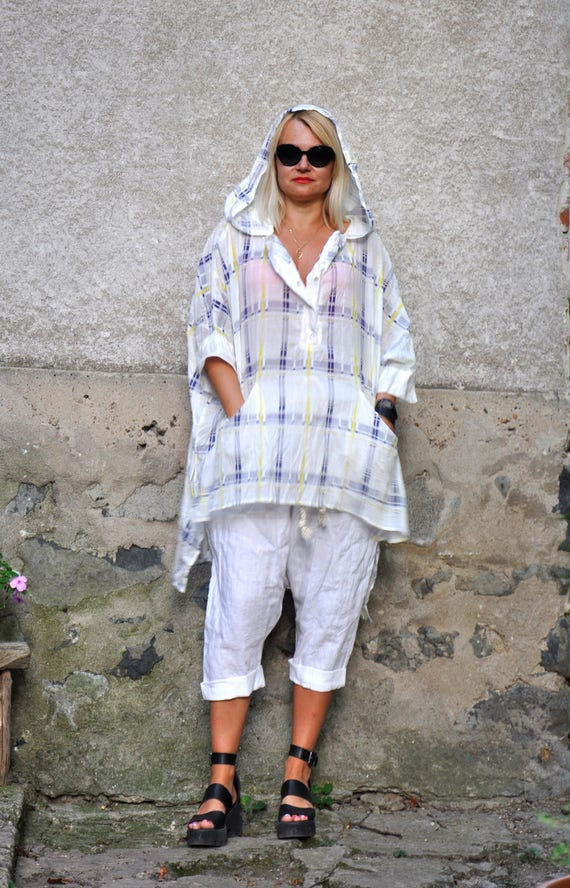 tunic Maxi T0342 plus shirt maxi size White tunic Hooded shirt Woman Loose cotton Cotton comfortable shirt shirt 100 summer hooded scarf wnOq4RAp