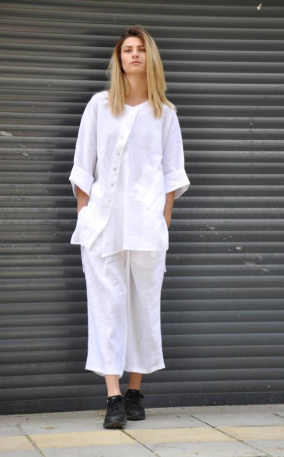 great deals on fashion modern techniques high quality materials White LINEN SET/Linen clothes/Linen shirt asymmetric and loose  pants/Extravagant top and pants/Loose pants/Maxi pants/Maxi shirt/S1828