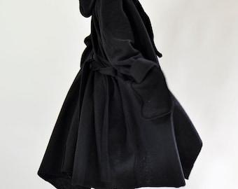 Plus Size Coat Winter, Hooded Coat, Wool Coat, Women Coat, Long Coat, Maxi Coat, Plus Size Clothing, Black Wool Coat, Oversized Wool Coat