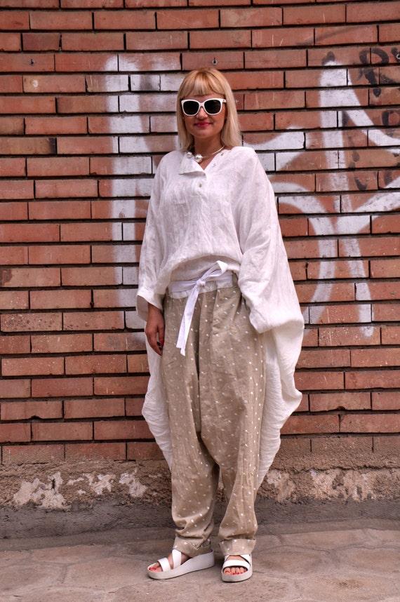 Beige Casual tunic SET set Set Top pants Oversize P1486 Loose top summer linen harem and Handmade pants tunic Maxi Set Oversize 100 Pants w7nF0qxZ7Y
