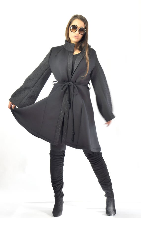 blazer Extravagant coat Winter unique lining neoprene Black beautiful C0356 Handmade Jacket maxi jacket blazer Neoprene black coat Woman A1Org1q