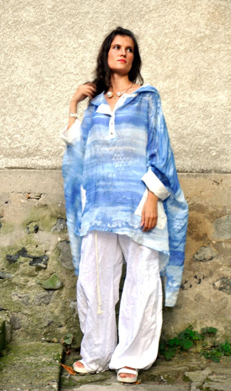 Linen SETWhite loose pants and blue cotton silk tunicmaxi setWoman summer plus size tunic and pantsLinen pantsBlue maxi tunicS0240