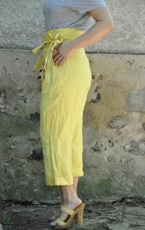 Yellow Natural Linen Asymmetric Maxi Extravagant Linen linen Washed pants Pants clothes pants P1806 Trousers Comfortable New linen pants r4xrn