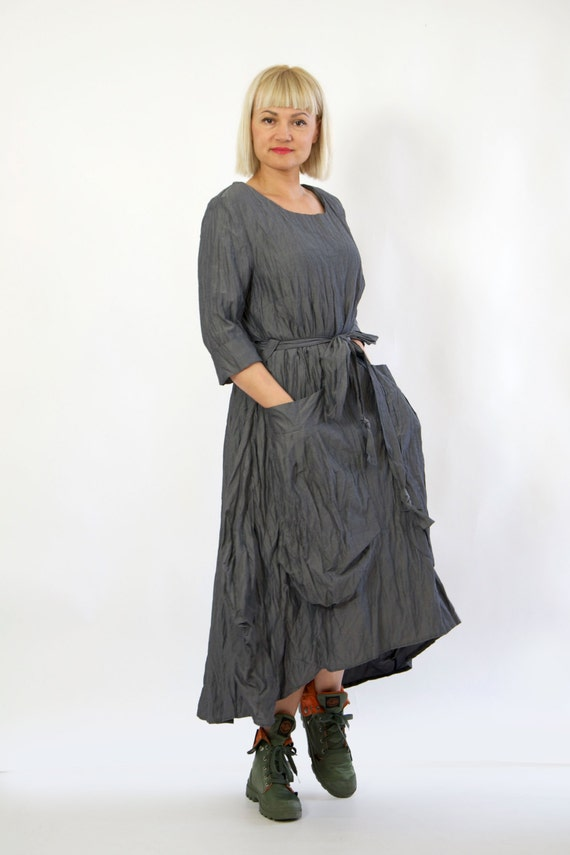 Casual Long dress Maxi Long sleeves loose maxi cotton big pockets dress cotton dress oversize dress dress Handmade with D1291 Gray dress 0Zt1qw7nn