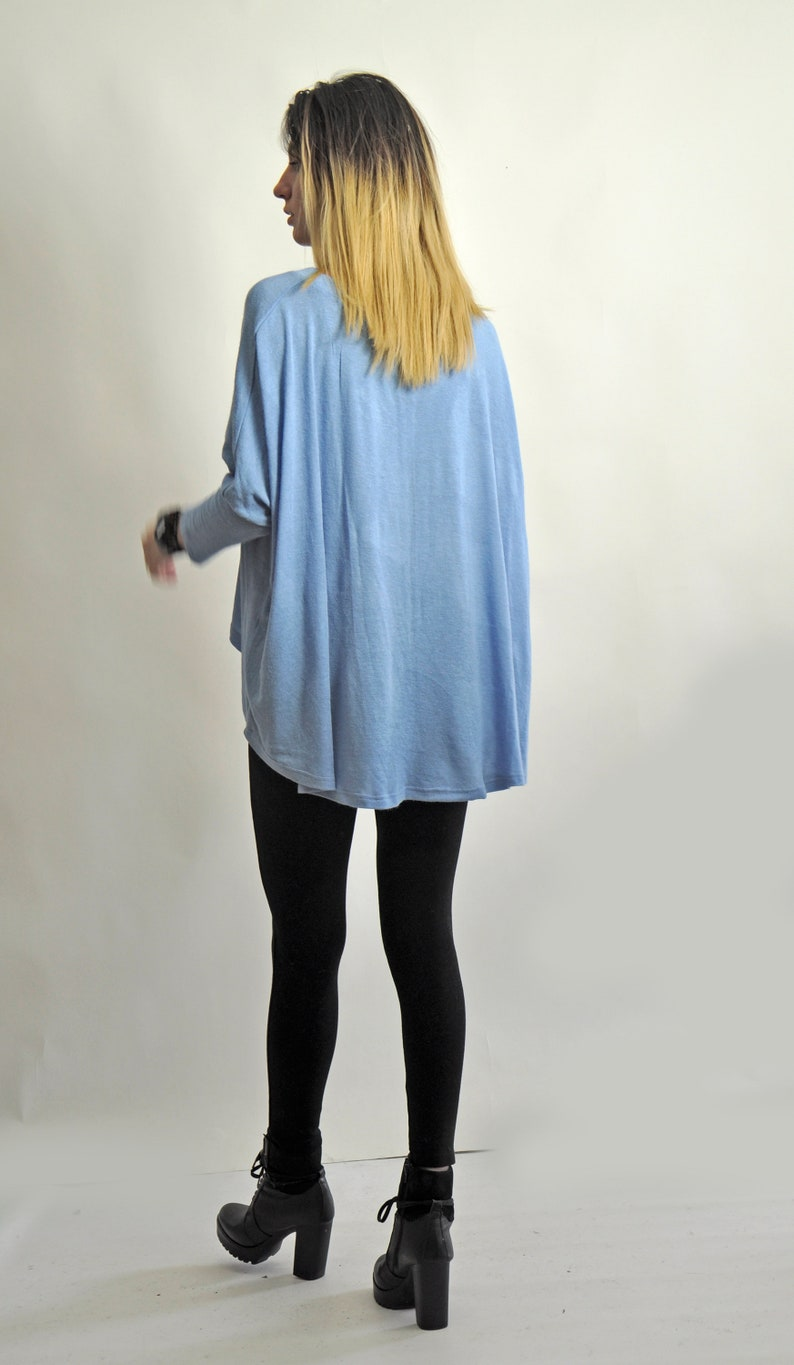 New Light Blue Tunic  Maxi Top Loose Top Soft Mohair Knit Top Maxi Long sleeves Tunic Plus size Elegant Top Woman Soft wool topT19008