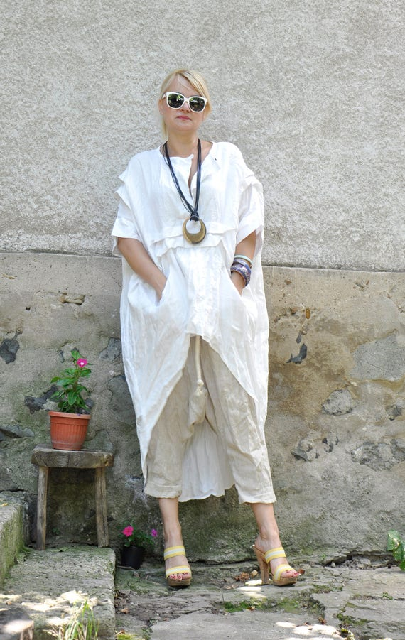 linen and tunic harem Beige S0336 and pants Linen Set clothes and Summer tunic White set Top maxi linen Woman long pants maxi pants loose gYzYZw1q