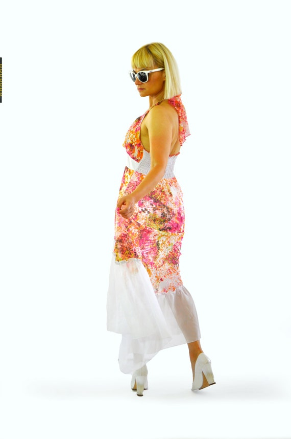Maxi wedding dress dress dress chiffon dress Print shiffon bridesmaid or dress Made Handmade Day party Summer prom italian long D1453 vgYzPw6