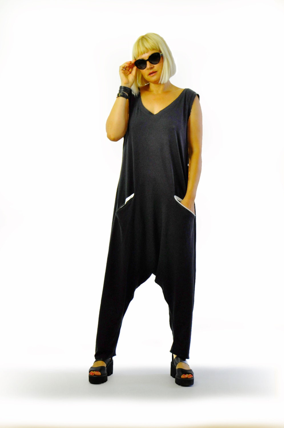 1725910a8b319 Black Harem jersey Jumpsuit Women summer casual jumpsuit Loose
