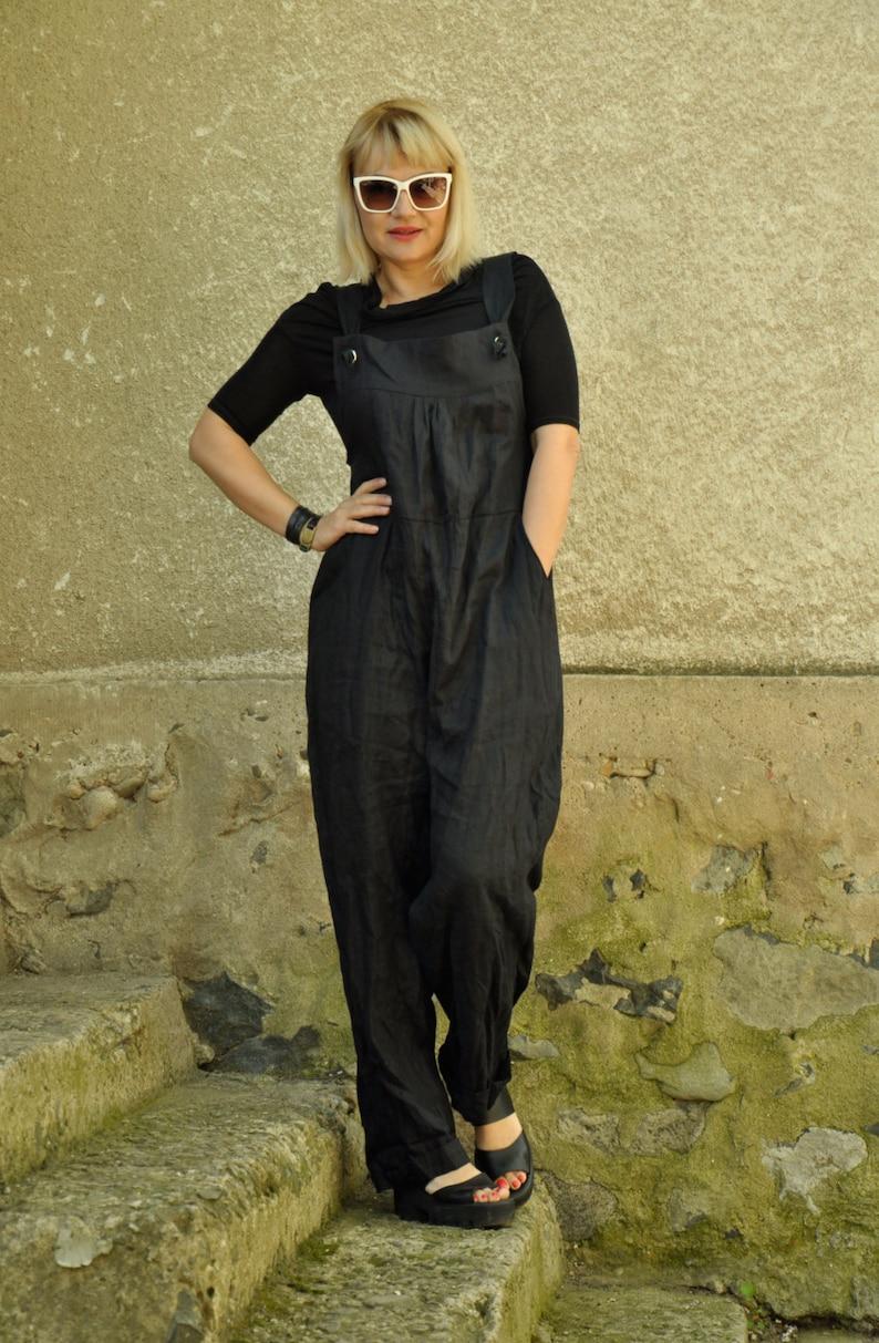 765a82d002a9 Black linen jumpsuit Loose summer jumpsuit Linen Drop Crotch