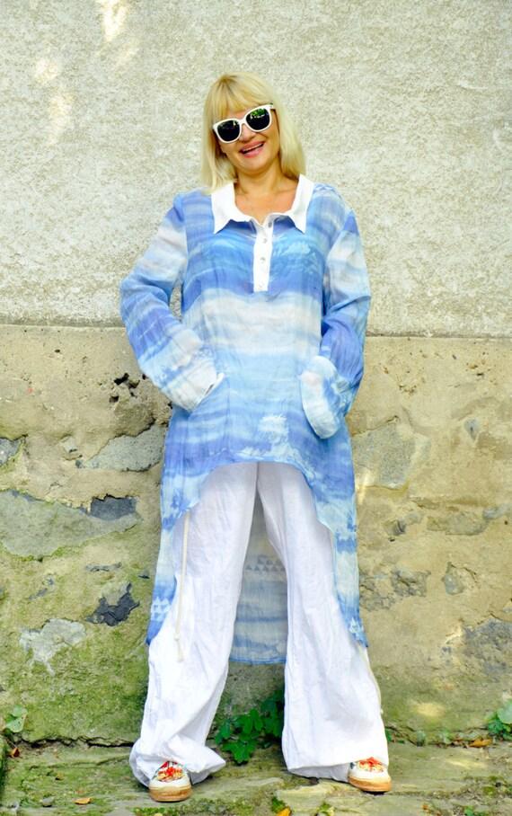 ocean Amazing maxi linen Blue long loose clothes shirt silk tunic linen tunic silk 1497 shirt Blue T silk Woman cotton tunic Casual Woman q6HxZ