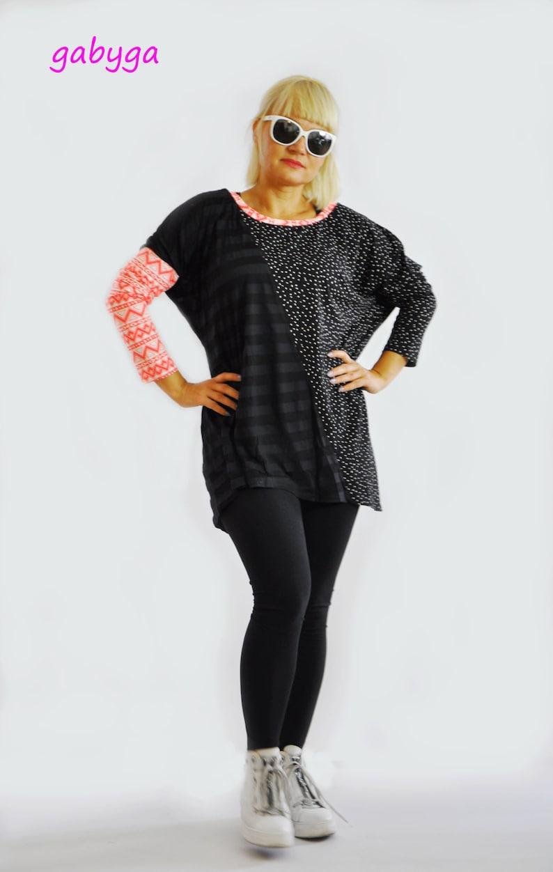 Woman black long tunicLong sleeves top tunicCasual black tunicExtravagant black cotton tunicHandmade tunicwoman tunic topT1442