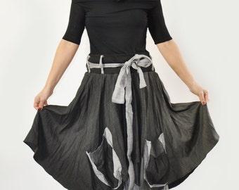 Wool Skirt, Long Skirt, Winter Skirt, Wrap Skirt, Black Skirt, Pockets Skirt, Maxi Skirt, Plus Size Skirt, Asymmetrical Skirt, Cotton Skirt