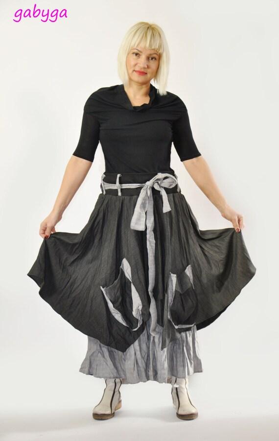 a95745312 Long Wool casual skirt/Woman wool wrap skirt/Woman black | Etsy