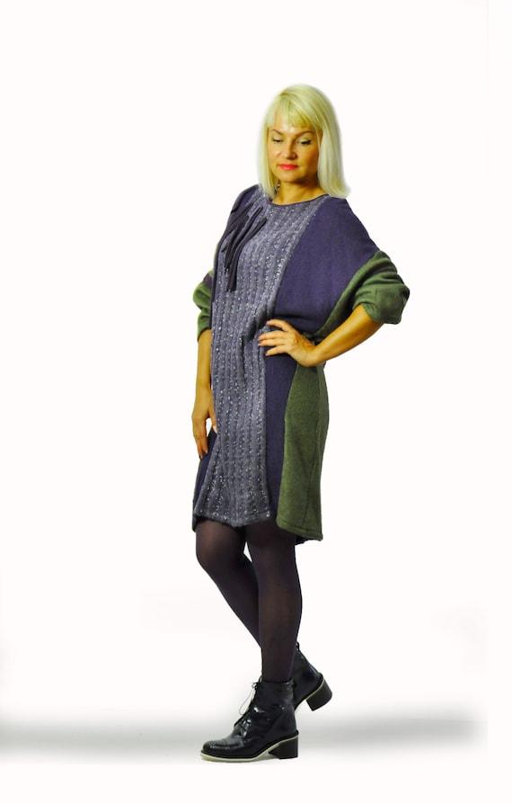 violet Winter tunic wool Oversize dress maxi woman Loose Maxi tunic and Long wool tunic tunic blouse Casual dress winter dark Green T1356 waqxEzTXa