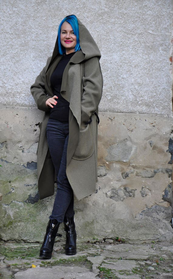 Wool Jacket Casual J0379 Cardigan Green Woman Jacket NEW Military Hooded Coat maxi Long Wool Maxi Loose Coat Jacket Winter wtWvCxCqYf