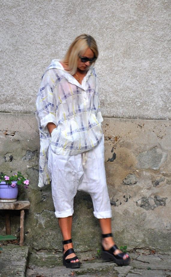 shirt hooded Woman maxi scarf Cotton summer shirt tunic size plus Maxi White 100 T0342 Hooded tunic shirt comfortable Loose cotton shirt aqnYpp