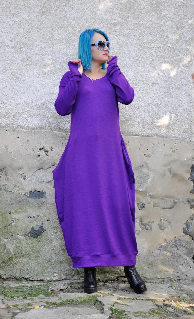 Purple wool tunicMaxi tunic dressWool cashmere long dressPlus size tunicplus size caftanWoman winter dressMaxi dressMaxi tunicD0376