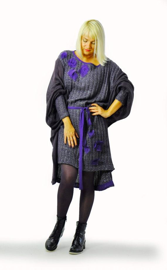 winter Casual tunic Oversize Maxi loose Raglan woman tunic dress wool gray tunic violet dress D1218 Dark tunic mohiar sleeves loose nafY4wq