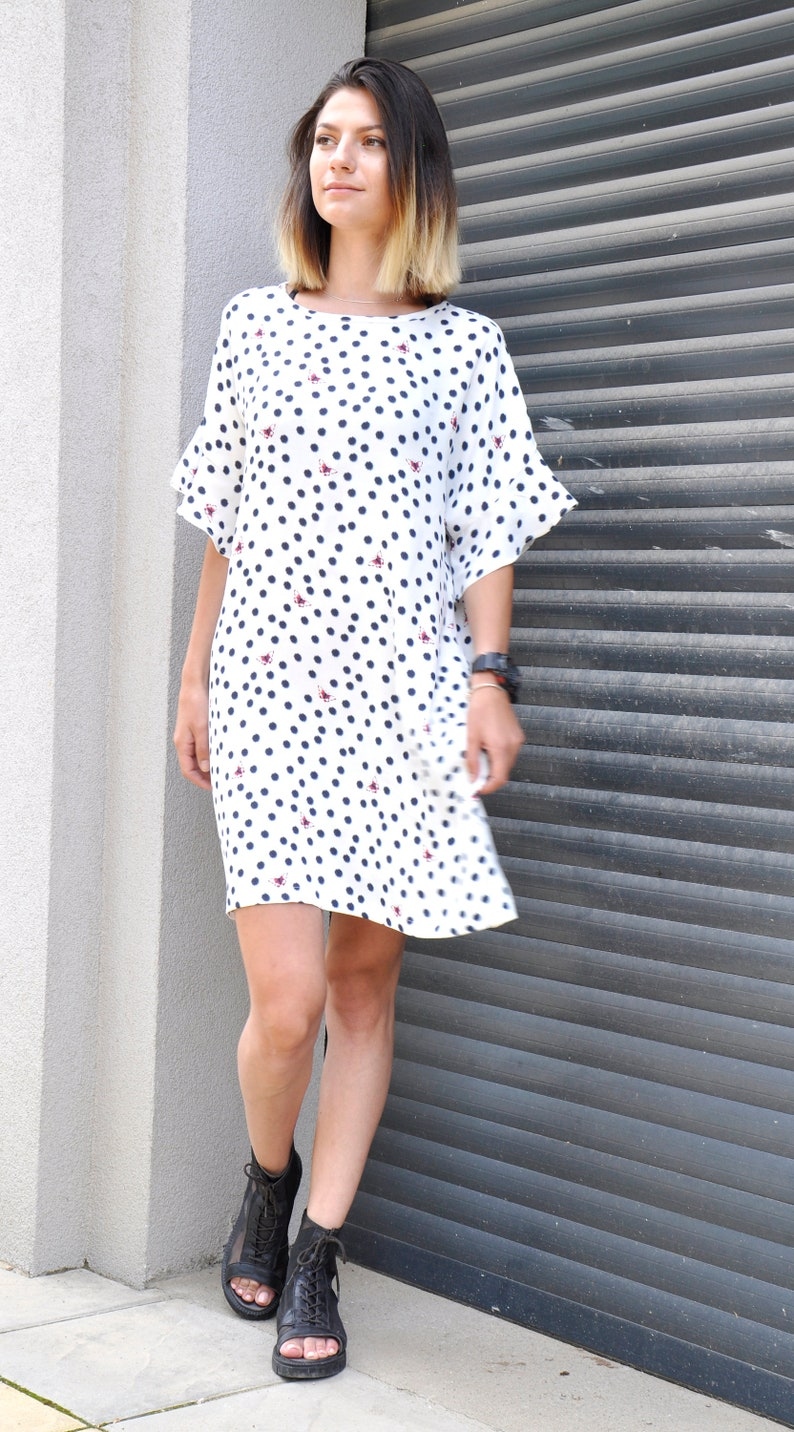 White Viscose polka dots dress/ Loose woman dress/ Summer Plus size dress/  Polka dots beautiful dress/ Maxi dress/ Comfortable dress/D1942
