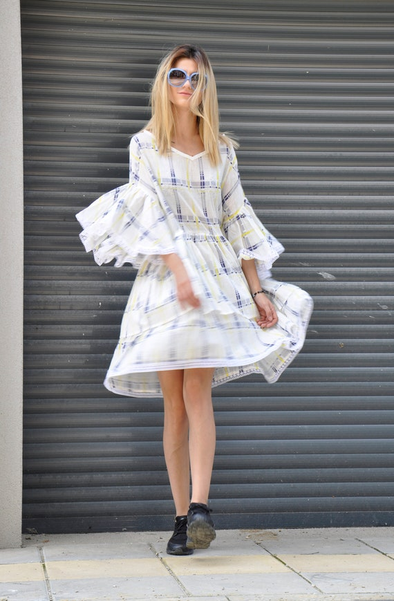 Caried plus Cotton dress White Party dress Tunic dress Dress Loose dress Extravagant Dress Sexi Maxi Long Bridal size Summer Daywear dress wqB1v