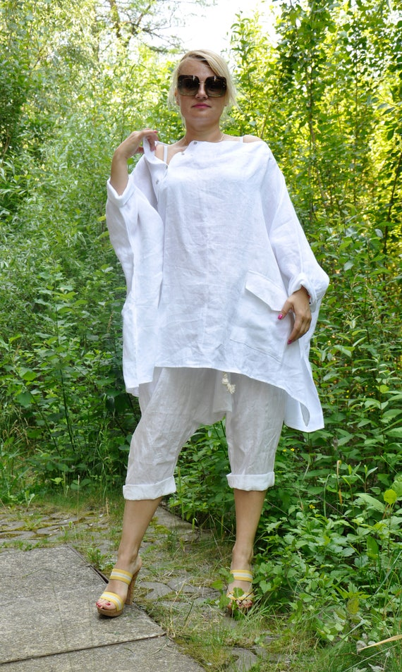 size Comfortable Asymmetric shirt plus Summer loose White 100 T0321 Woman shirt Handmade tunic shirt Maxi tunic shirt tunic LINEN linen qOvtO6