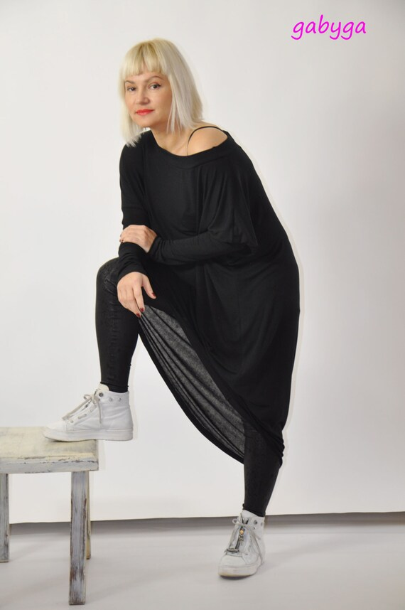 Sleeves Blouse Asymmetrical Tunic Long Dress D1275 Top Top Maxi Casual Woman Asymmetric Oversize Loose Black Black Tunic Raglan qvn0HH