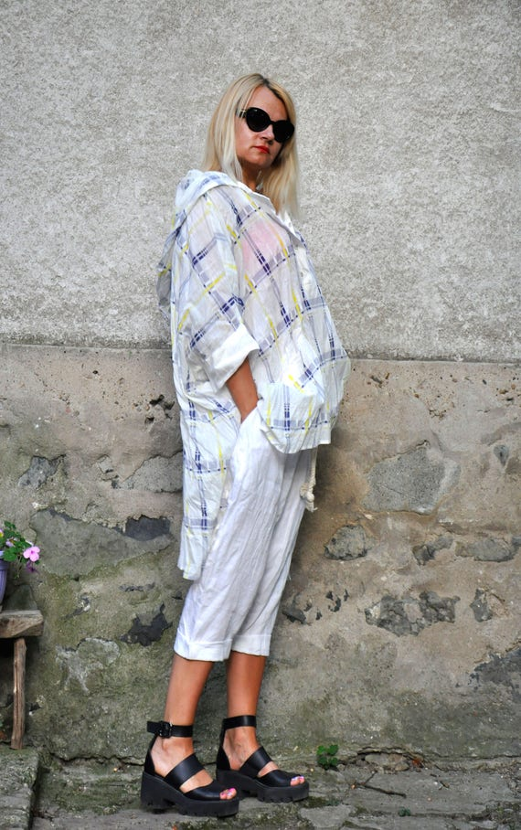 Woman shirt scarf Loose Maxi size tunic shirt shirt hooded maxi tunic White cotton Hooded summer 100 shirt T0342 Cotton comfortable plus 8tEwtqr