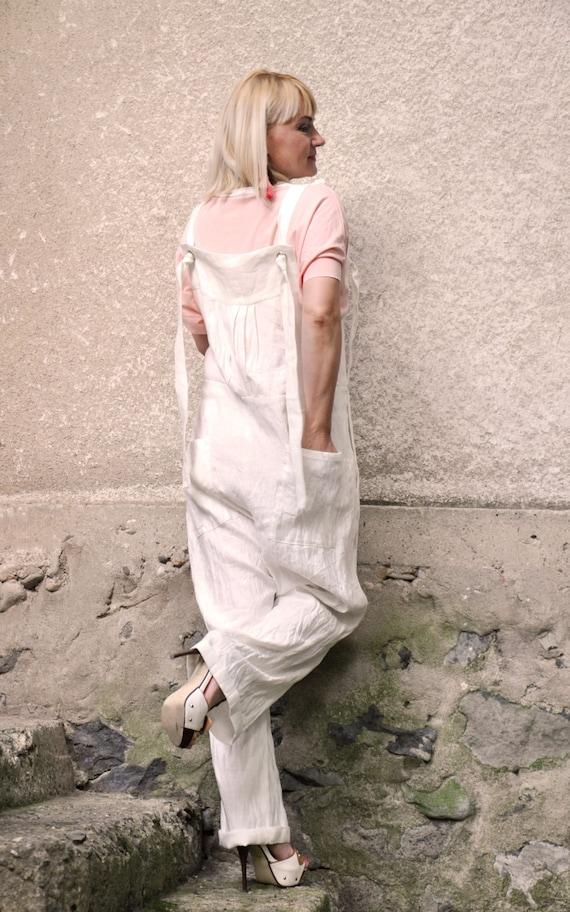 summer Loose Linen Linen Overall jumpsuit Linen Jumpsuit G0210 Wide Oversized Bohemian jumpsuit Drop linen legs White Crotch jumpsuit Romper ESqwzfSt