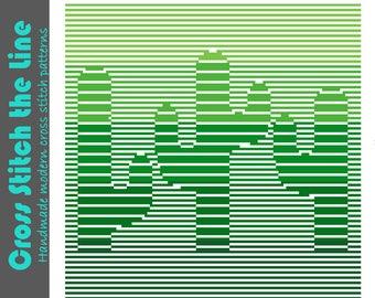 Stunning minimalist cross stitch pattern. Modern embroidery chart. Contemporary original design. Cacti