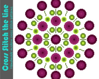 Large retro mandala of bright round flowers. Contemporary cross stitch pattern. Modern design.