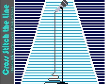Minimalist modern cross stitch pattern. Contemporary embroidery chart. Original design. 'Microphone in the spotlight'