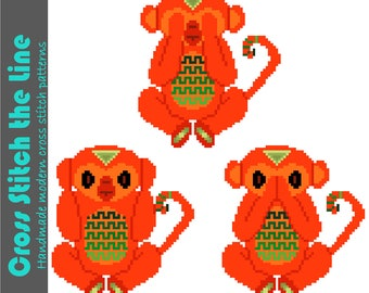 Modern cross stitch pattern of 3 cheeky monkeys. Contemporary design. Tribal embroidery chart. 'See no evil, hear no evil, speak no evil'