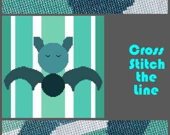 Modern cross stitch pattern ideal for all bat lovers out there. Minimalist design. Contemporary embroidery chart.