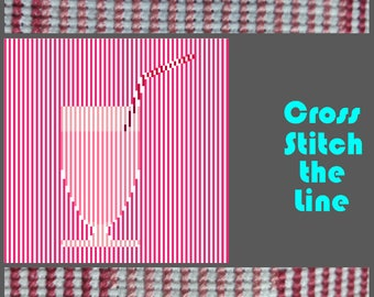 Minimalist contemporary cross stitch pattern. Modern embroidery design. Strawberry Milkshake.
