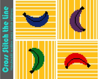 Modern minimalist cross stitch pattern. Contemporary embroidery chart. Pop art design perfect for kitchen decor. Fun bananas.