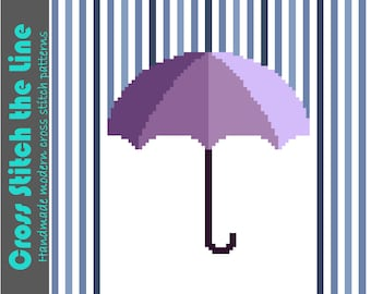 Modern cross stitch pattern designed with kids in mind. Contemporary minimalist embroidery chart ideal for the nursery. 'Under my umbrella'