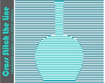 Minimalist cross stitch pattern. Contemporary design. Modern embroidery chart. Opt art bottle.