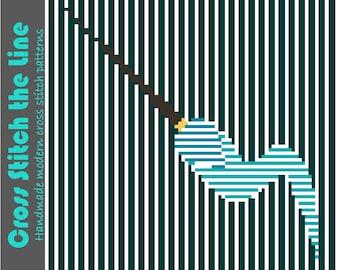 Contemporary cross stitch pattern. Beautiful modern embroidery chart. Original minimalist design. 'Artist paint brush'.