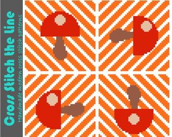 Modern art mushrooms cross stitch pattern. Minimalist embroidery chart. Contemporary design.