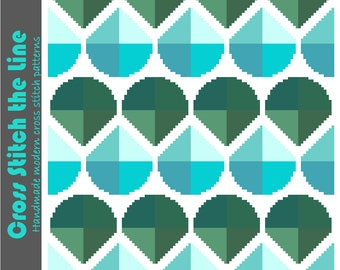 Geometric cross stitch design. Modern cross stitch pattern. Contemporary embroidery chart. Minimalist retro cross stitch in blue and green.